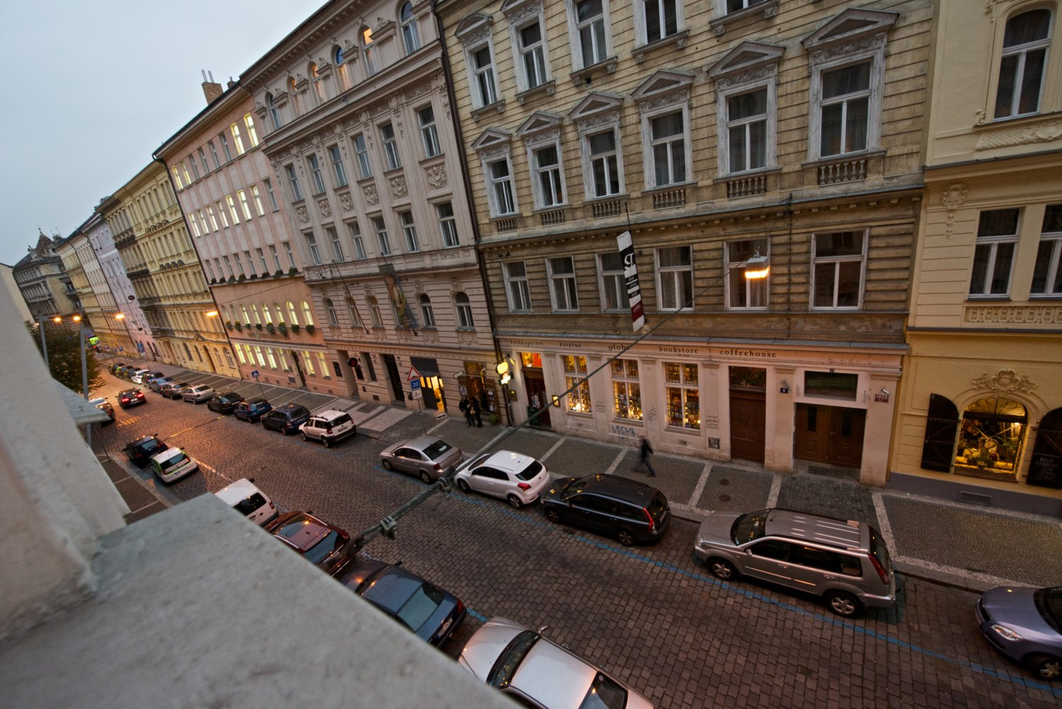 wiew from street window to Pstrossova